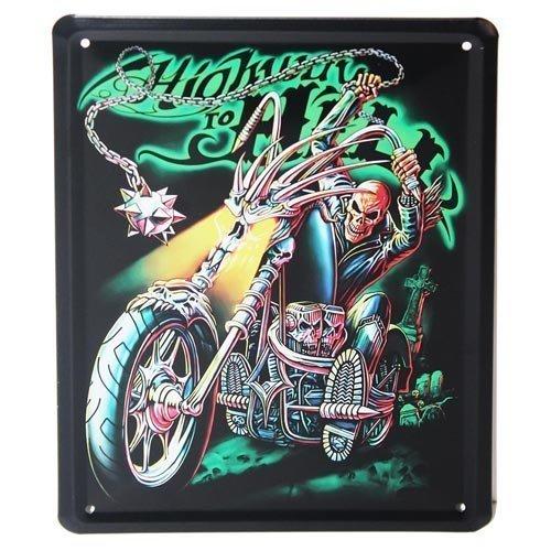 Moto design en m/étal vintage Highway to Hell plaque de porte ou plaque murale