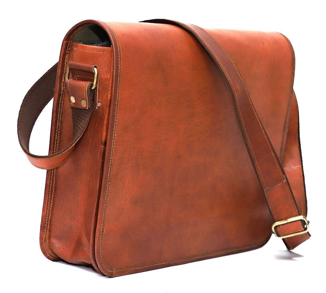 Krishna Leather Shoulder Full Flap Laptop Leather Messenger Bag Satchel Dark Brown