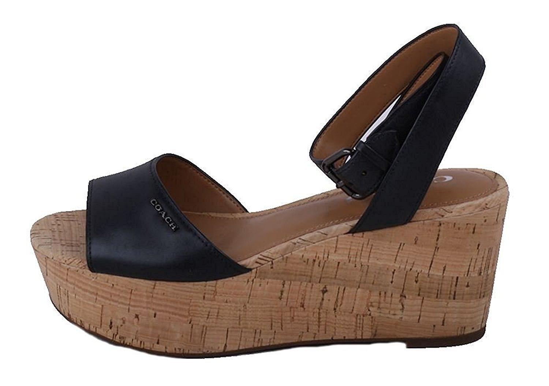 Coach Womens Becka Semi Matte Calf Leather Open Toe Casual Platform Sandals, Black, 8.5