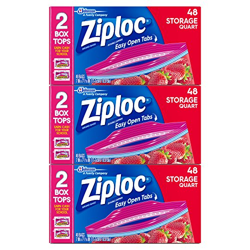 Plastic Zip Storage Lock Bags (Ziploc Storage Bags, Quart, 3 Pack, 48 ct)