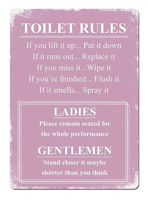 SALWON Toilet Rules Pink -Cartel De Chapa Advertencia Placa ...