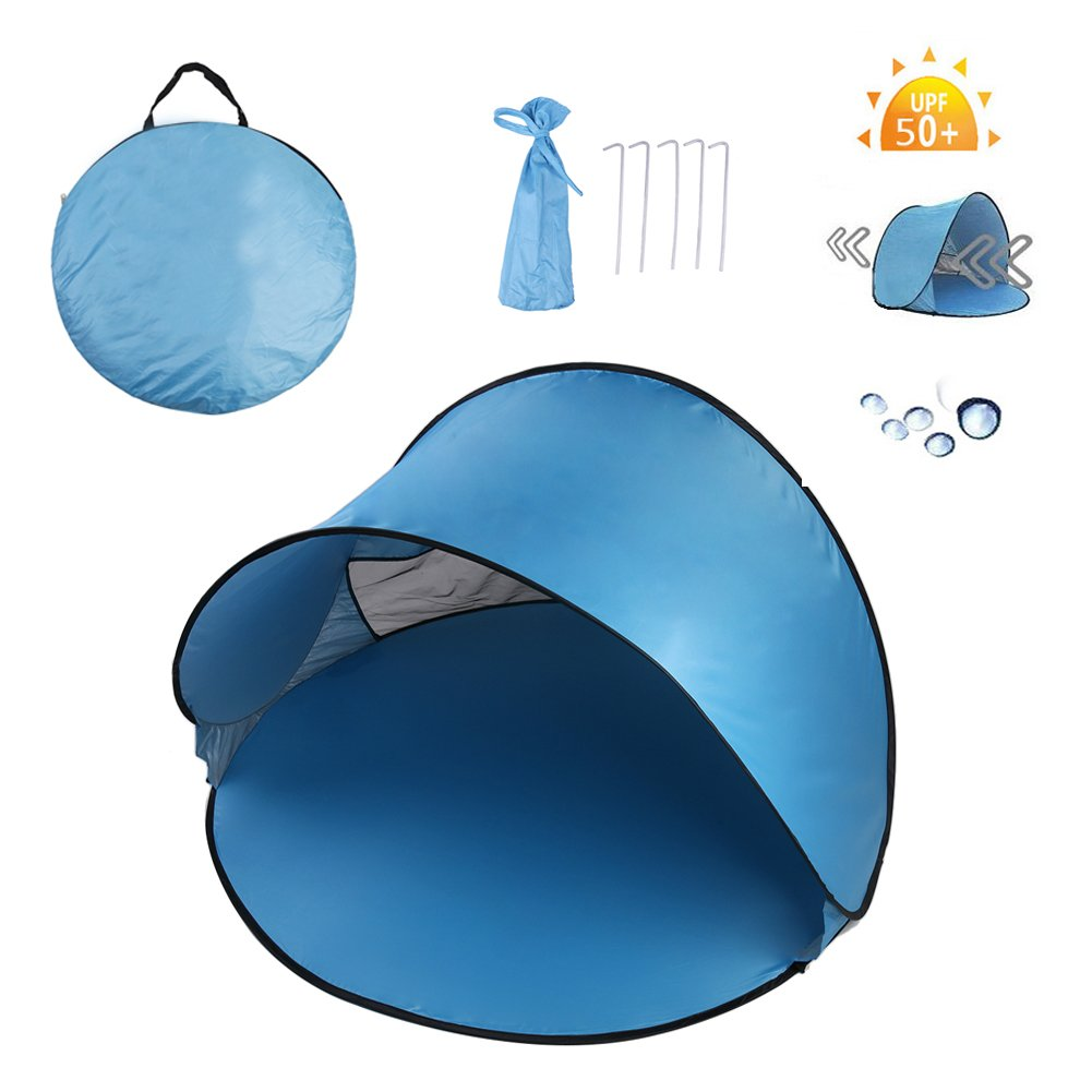 Homboon Automatic Beach Tent, Instant Pop-up Sun Shelter Portable Cabana with Carry Bag Outdoor Anti-Uv Canopy Lightweight Foldable Shade Tent for Camping Fishing Hiking Picnic,59×59×35Inch,Blue by Homboon