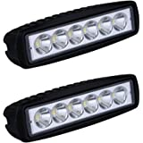Topseller 2 Pack 18W LED Light Bar, 1600lm Led Spot Flood Light LED Bar Light Driving Light Fog Off Road Lights for Jeep Ford Pickup ATV SUV Truck Boat