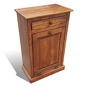 Lancaster's Best Wooden Pull Out Trash Can Cabinet, Handmade Solid Wood Hideaway Trash Holder (Cherry)