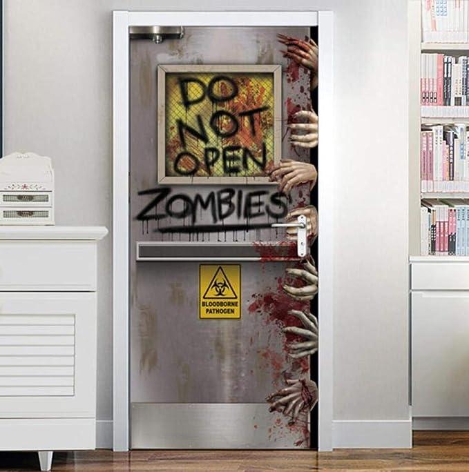 Door Wall Sticker Diy Adhesivo Pvc No Abrir Puerta Sangre Mano ...