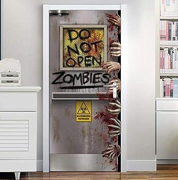 Door Wall Sticker Diy Adhesivo Pvc No Abrir Puerta Sangre Mano Ventana Miedo Fiesta De Halloween Prop Casa Embrujada Decoración De La Casa Cartel Mano Etiqueta De La Pared Yjlmt 3D: Amazon.es: