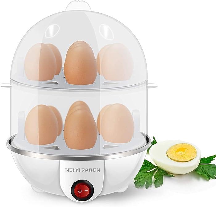 Electric Egg Cooker Boiler, Rapid 14 Egg Capacity Hard Boiled Egg Poacher with Auto-Shut off, Eggs Cooker Electric for Hard Boiled Scrambled Omelets, Poached Eggs, Steamed Vegetables, Dumplings & More