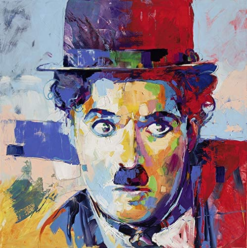 Faicai Art Charlie Chaplin Portrait Printings Pop Art Paintings Colorful Wall Art Canvas Prints and Posters Banksy Graffiti Picture