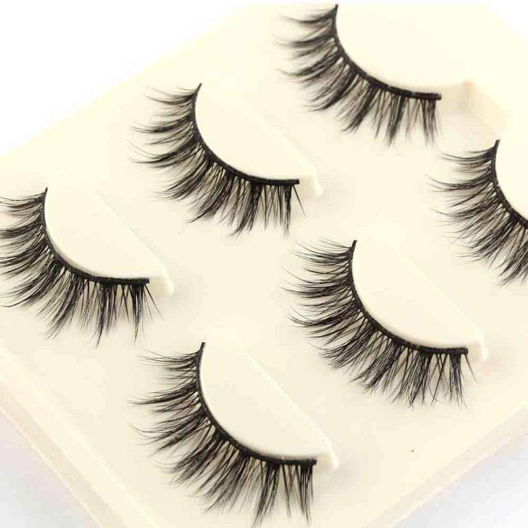 92b6e9bc12a TINGSU 3 Pairs 3D False Lashes Thick Fake Eyelashes Long Fluffy Strip Eye  Lashes Natural Look for Make up: Amazon.co.uk: Beauty