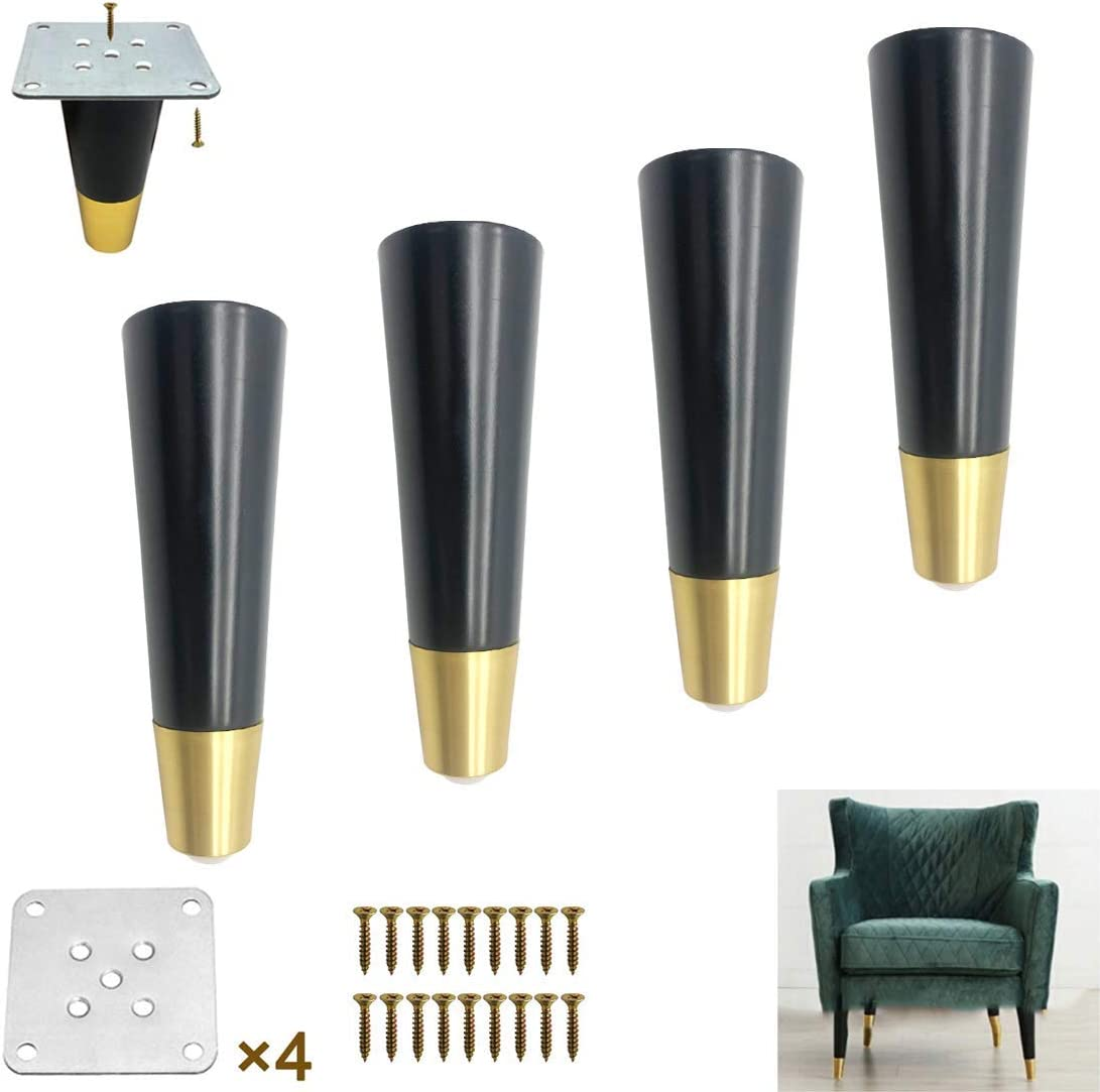 Set of 4 Tapered Solid Wood Furniture Legs, Replacement Sofa Legs, Coffee Table Legs, Perfect for Mid-Century Modern Furniture, Oak, Aluminum Base, Black (Vertical 18.5cm / 7.3in)