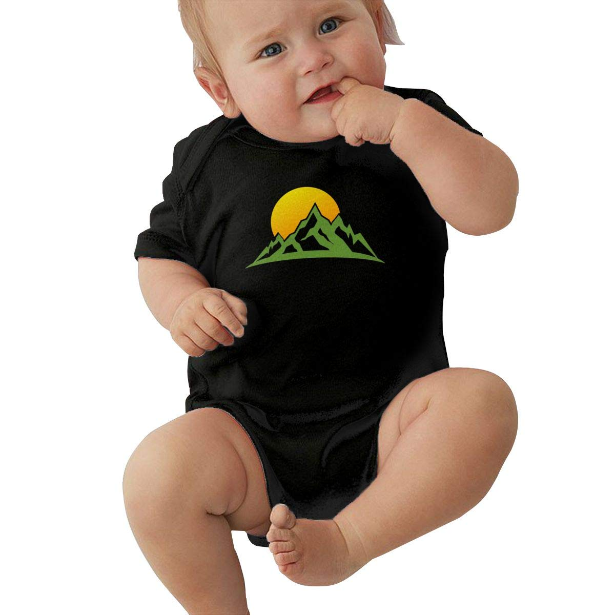 Dfenere Mountain Rise Logo Graphic Newborn Baby Short Sleeve Bodysuit Romper Infant Summer Clothing Black