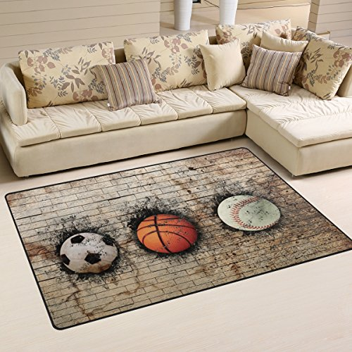(WOZO Vintage 3D Basketball Baseball Soccer Area Rug Rugs Non-Slip Floor Mat Doormats for Living Room Bedroom 60 x 39 inches)