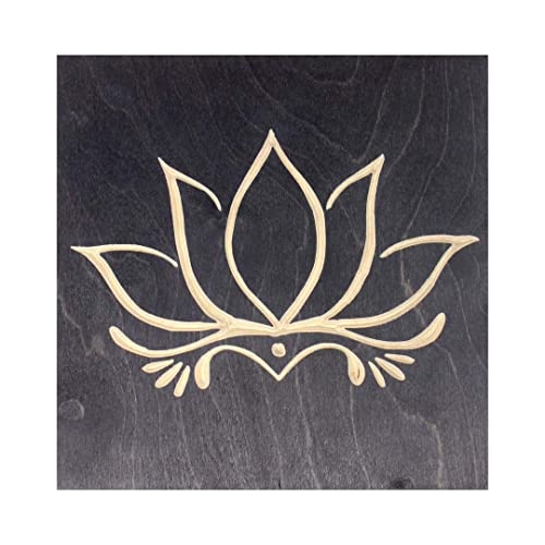 Lotus Flower 12 X 12 Inch Home Decor Wood Wall Art Plaque Accent Handmade Housewarming Gift Idea Ready For Hanging In Room Office Studio