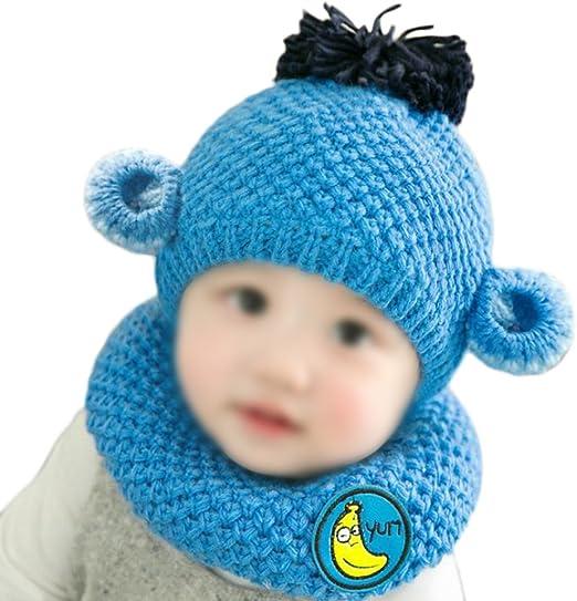 Hosaire niños Invierno Sombrero bebé de Punto Gorro Moda Bufanda ...