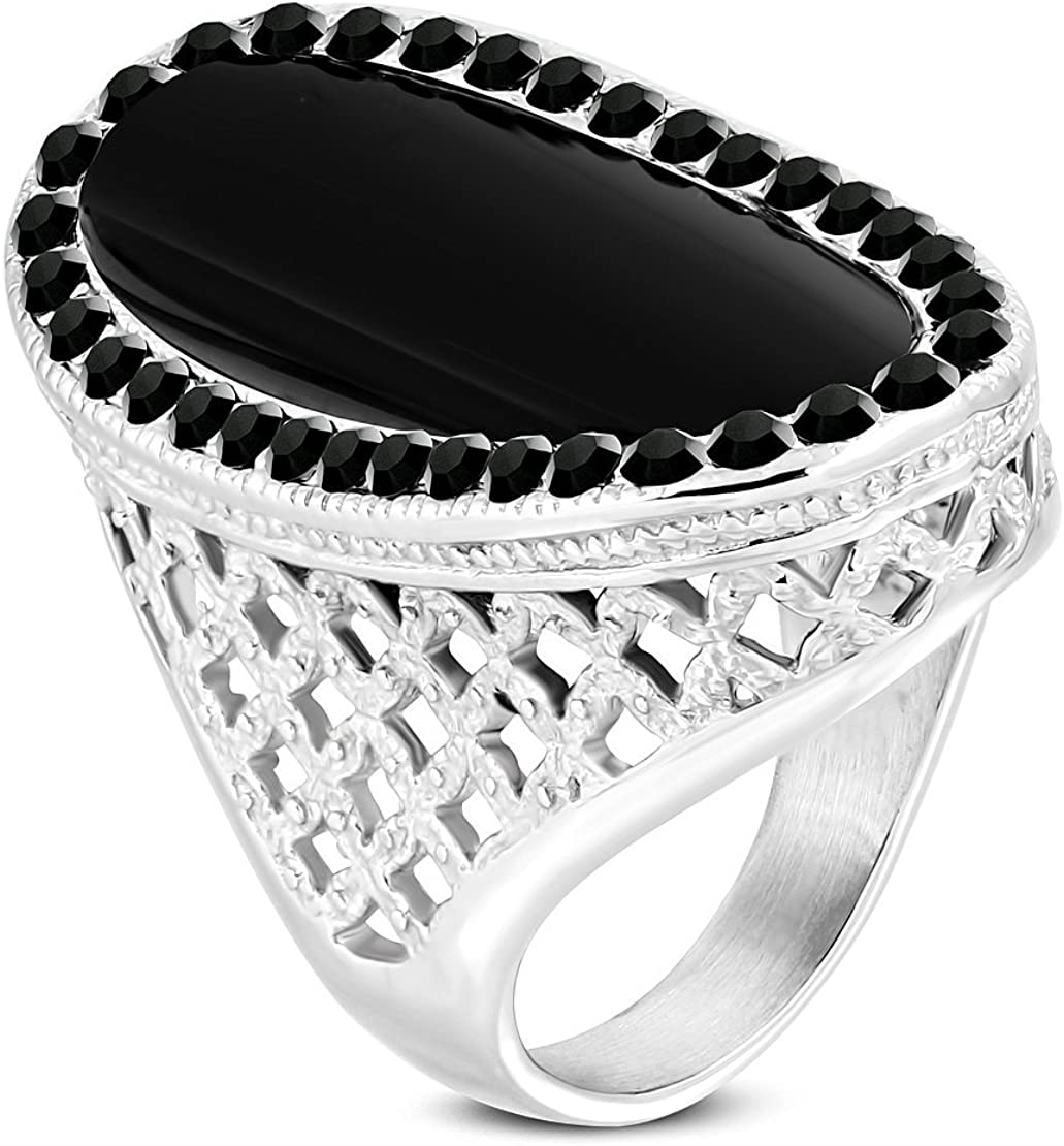 Stainless Steel Bezel-Set Oval Filigree Criss-Cross Shank Cocktail Ring with Black Glass Stone /& CZ
