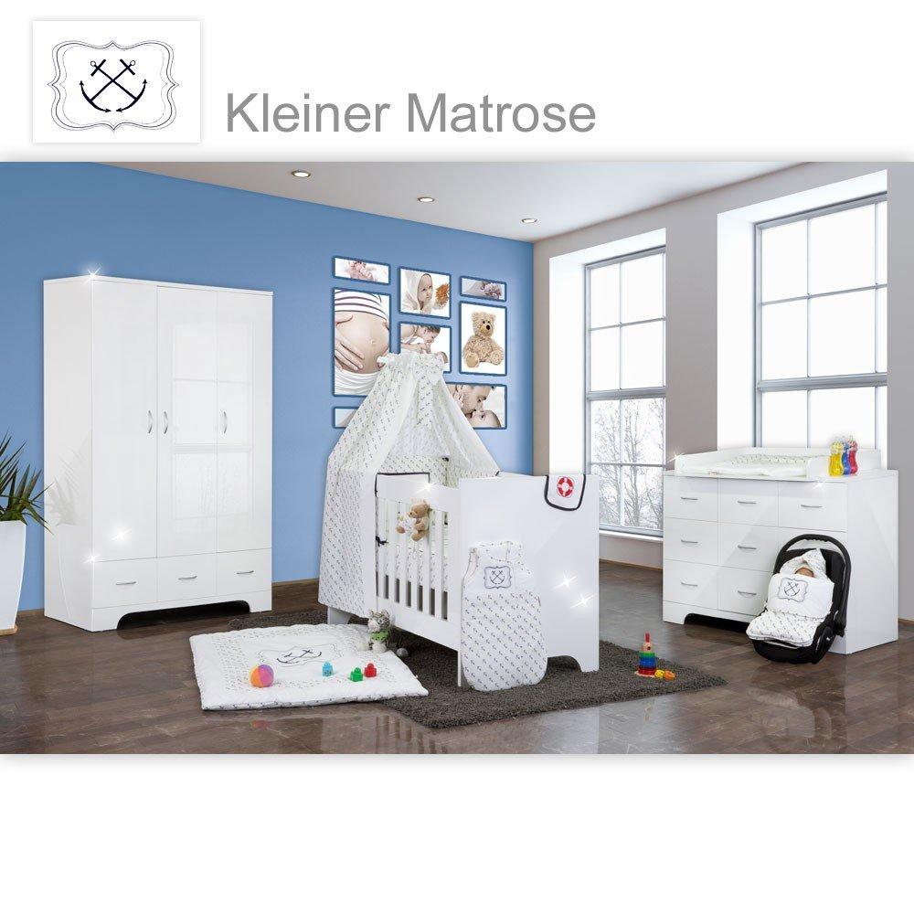 Hochglanz Babyzimmer Memi 19-tlg. mit Textilien von Kleiner Matrose in Blau