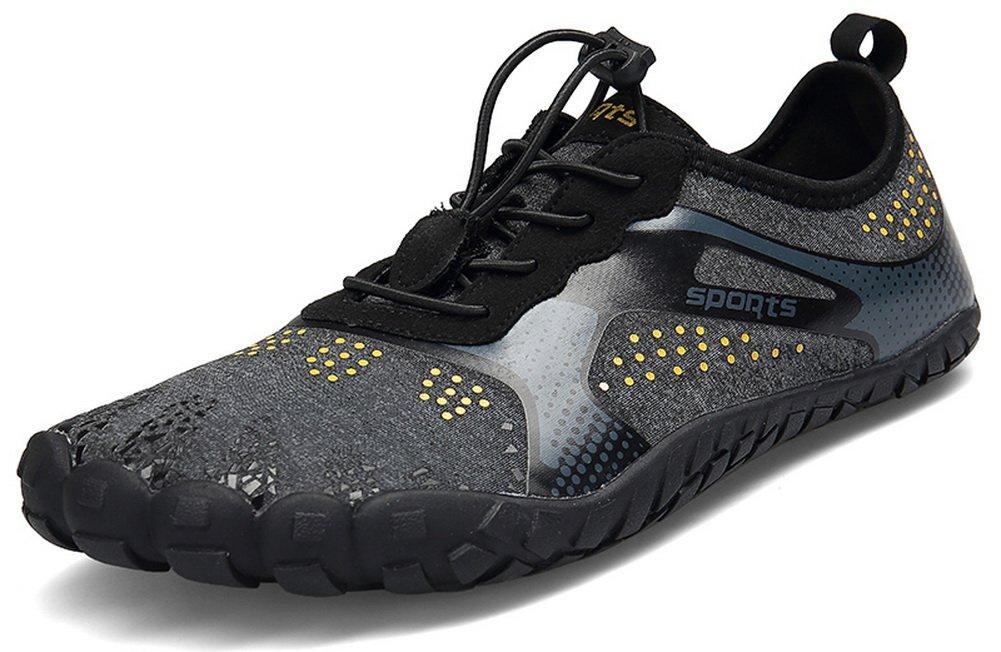 JOOMRA Men Women Wide Quick Dry Barefoot Hiking Water Shoes B07F1N9HM3 11 US Women's / 9.5 US Men's|Black