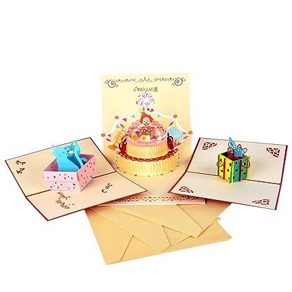 Racksoy - 3d Cumpleaños Tarjetas 3 piezas Pop Up Tarjetas ...