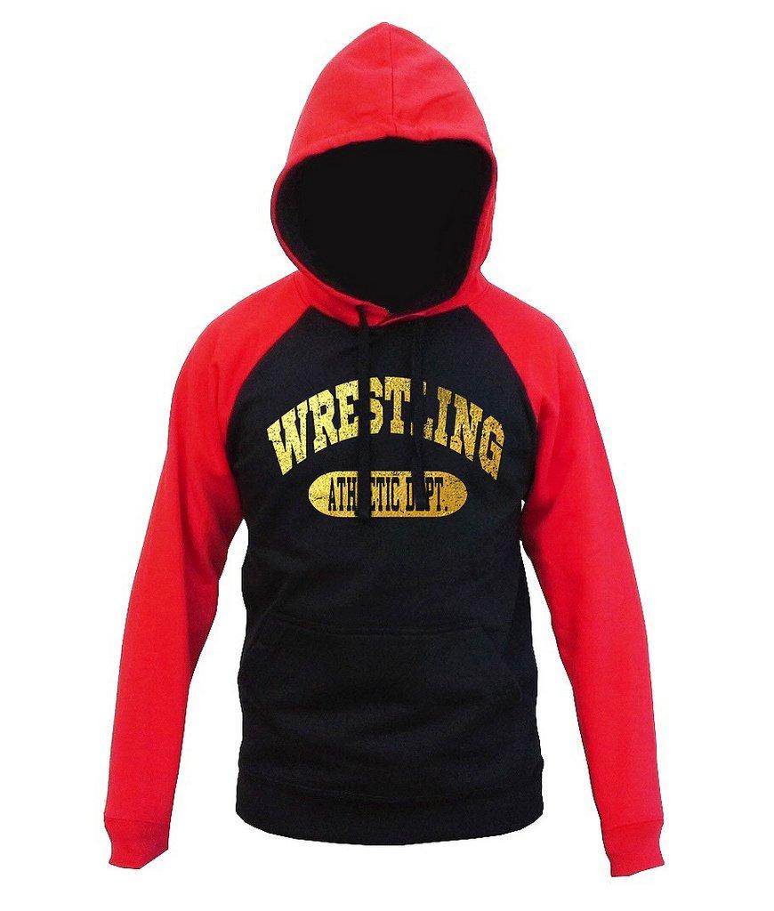 Interstate Apparel Gold Foil Wrestling Athletic Dept. Men's Black/Red Raglan Baseball Hoodie Sweater Medium Black