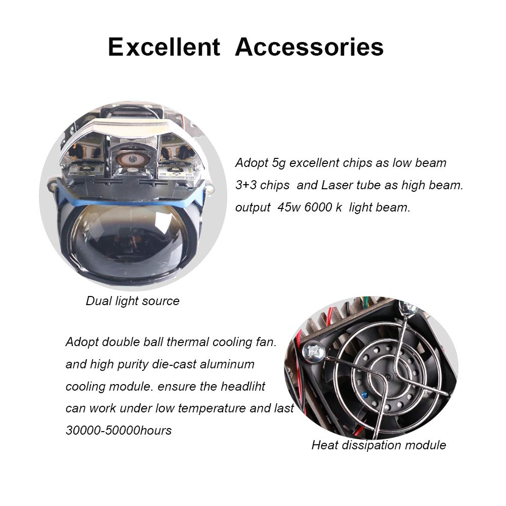 Amazon.com: SANVI L82 Car Laser Headlight 2.5 Inch Size 45W for Low Beam, 30W for High Beam, 20W for Laser Light 2pcs Auto Headlight Bulbs: Automotive