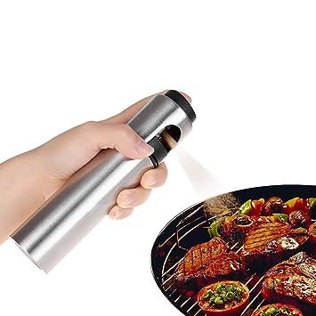 Spray de aceite de cocina, aceite de oliva de vidrio, bomba de acero inoxidable, dispensador de vinagre, botella para ensalad/pan/barbacoa: Amazon.es: Hogar
