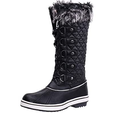 ALEADER Women s Lace Up Waterproof Winter Snow Boots Black 6 D(M) US 94ea124566