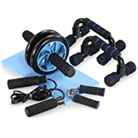 Tomshoo 5-in-1 Ab Wheel Roller Kit with Push-Up Bar Jump Rope Hand Gripper and Knee Pad