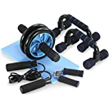 TOMSHOO 5-in-1 Fitness Workout Set - AB Wheel Roller Addominali +2 Maniglie per Flessioni + Corda per Saltare + Pinza Mano + Tappetino Fitness per Uomo/Donna Fitness