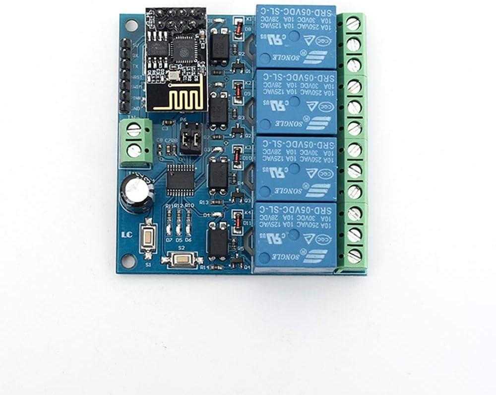 Module de Relais de Minuterie de Temporisation 5V ESP8266 ESP-01 4 Canaux WiFi T/él/écommande Commutateur pour Smart Maison IOT Transmission T/él/éphone APP Contr/ôleur