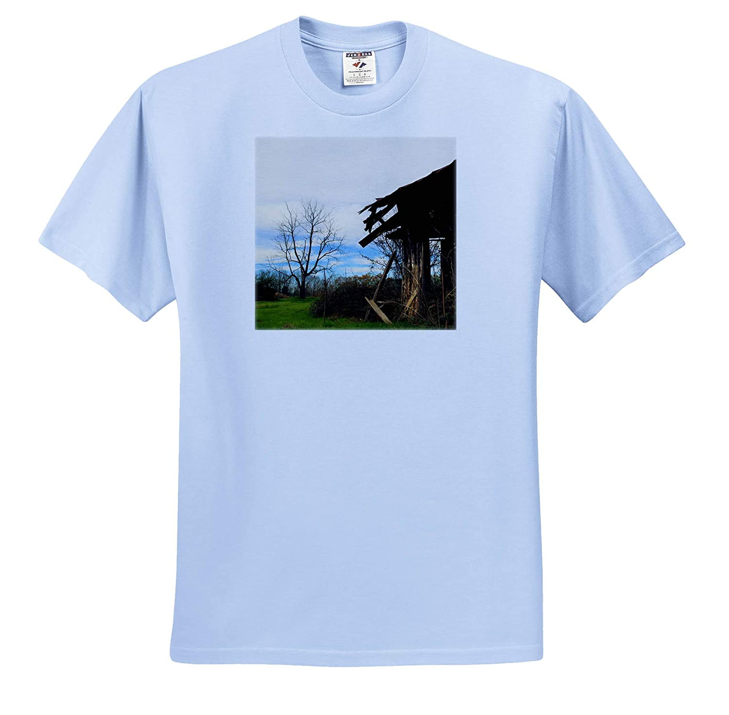 3dRose Stamp City - Adult T-Shirt XL Architecture Photograph of a Deserted barn on a Farm in South Carolina ts/_309910