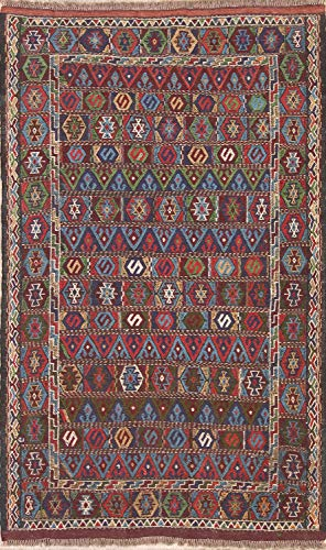 One-of-A-Kind New Kilim Tribal Geometric Hand-Woven 4x6 Wool Persian Area Rug (5' 11