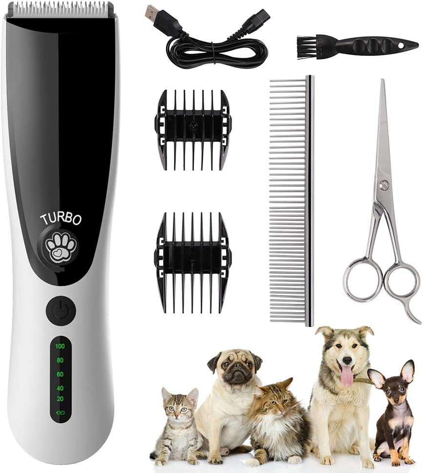 FREESOO Cortapelos para Perro Gatos Mascotas Profesional Set Máquina Cortar Pelo con Peines Cepillo Tijera Cable USB Velocidad Longitud Ajustable Kit Inalámbrico Bajo Ruido Pantalla LED