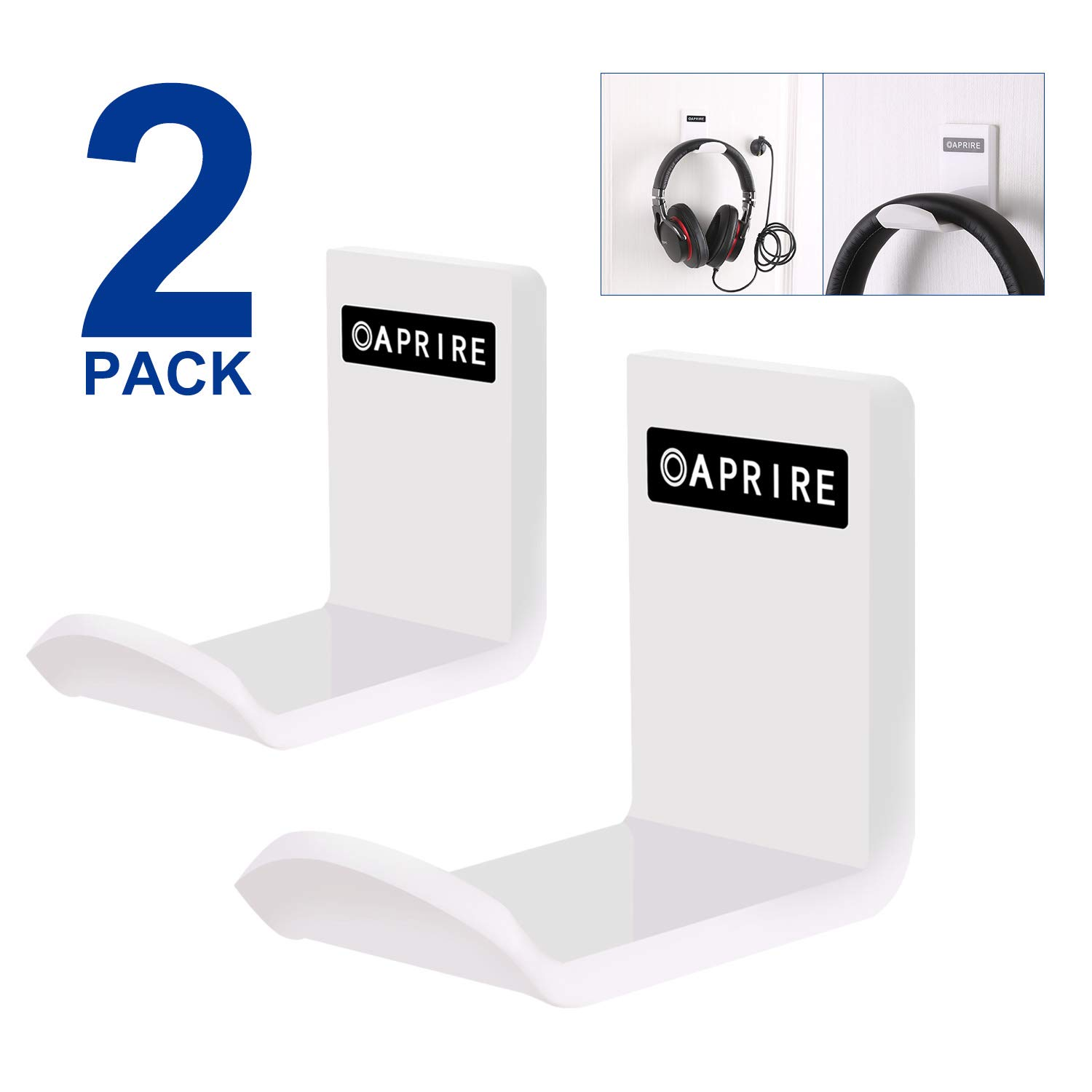 OAPRIRE Headphone Headset Hanger Wall Mount(2 Pack) - Save Desktop Space Headphone Stand - PC Gaming Universal Fit Headphone Holder with Cable Clip Organizer - No Screws, Stick on - White