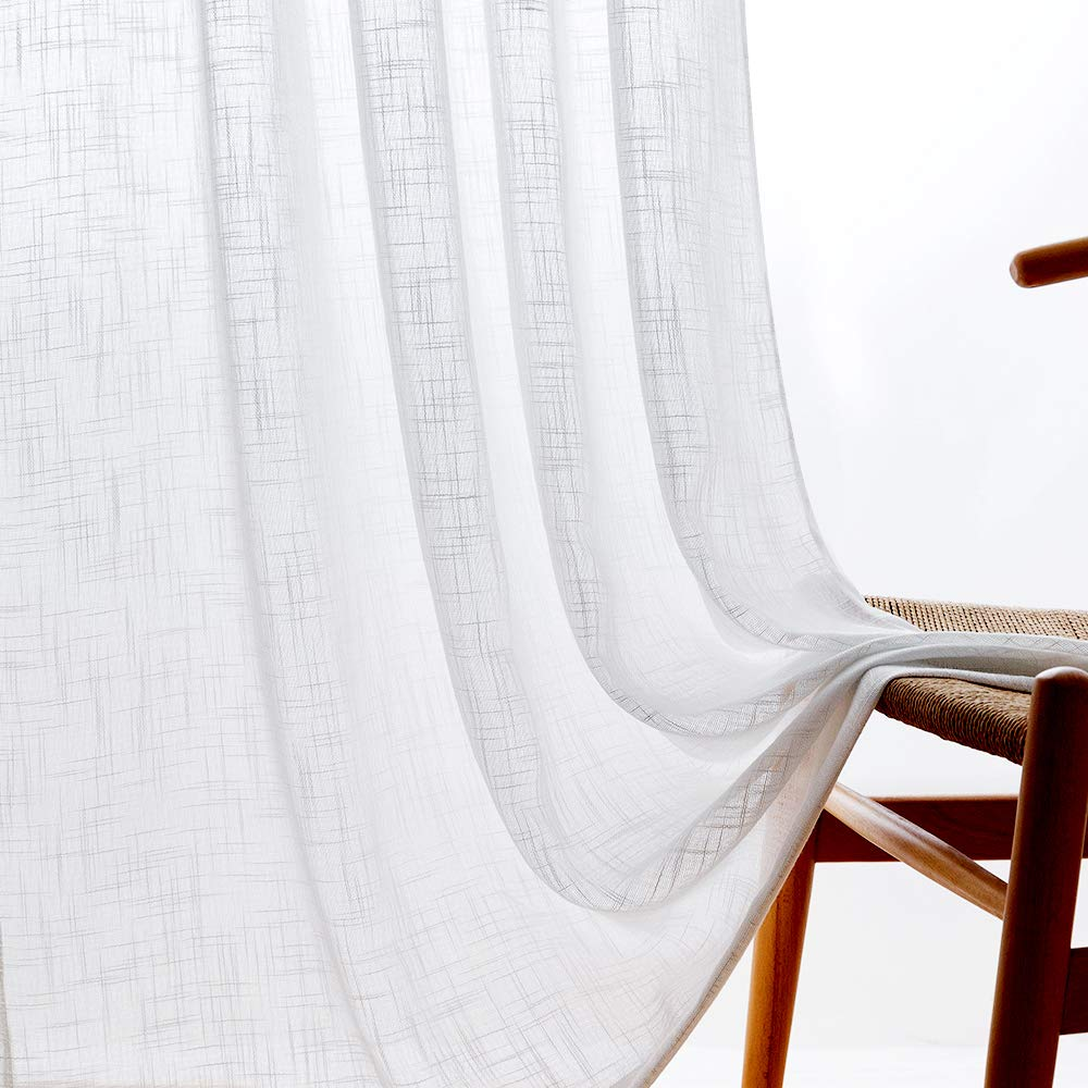 Linen Textured Sheer Window Curtains For Bedroom 63 Inches