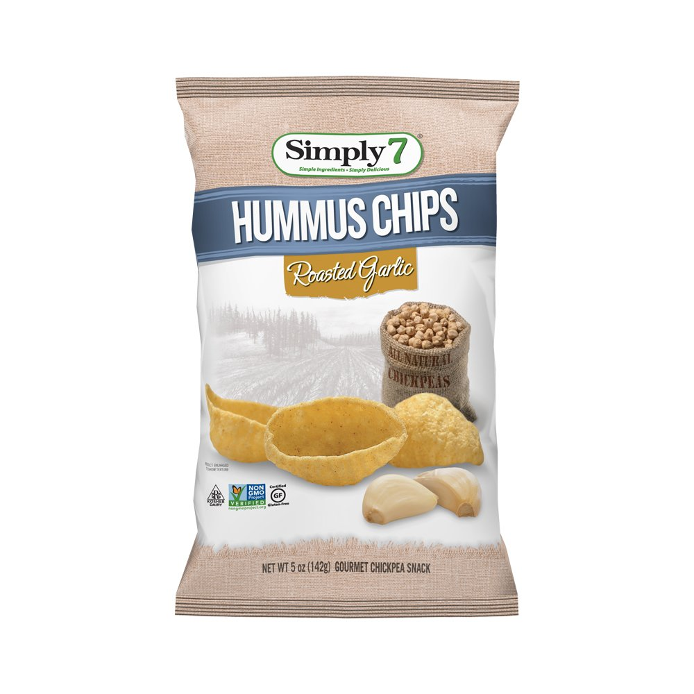 Simply7 Gluten Free Chickpea Hummus Chips, Roasted Garlic, 5 Ounce (Pack of 12)