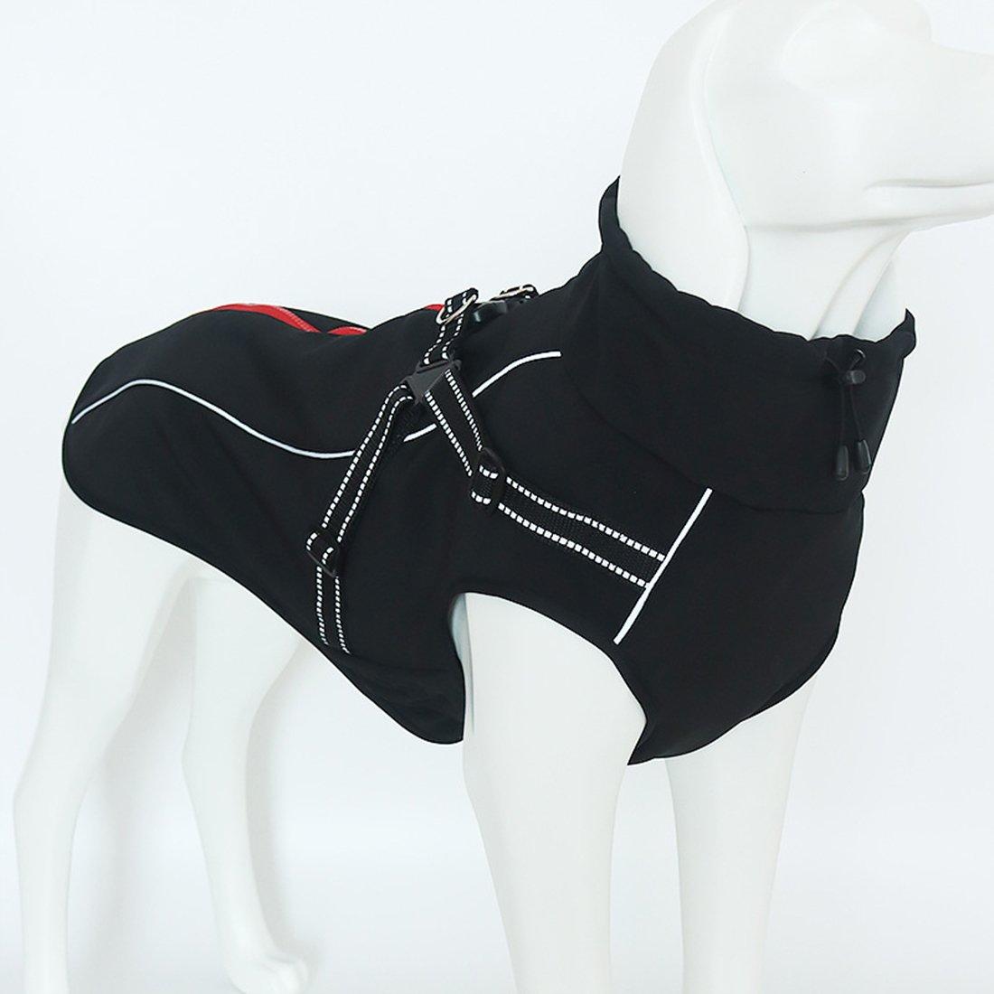GWELL Manteau Imperméable Polaire pour Chien Manteau d'hiver Automne Printemps avec Anneau en Forme de D Noir L