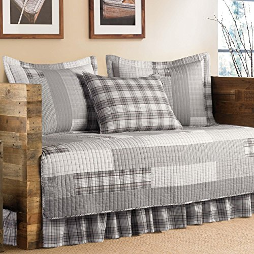 Grey Cotton, 5-Piece Quilted Daybed Cover Set and Plaid Pattern Included Cross Scented Candle Tart
