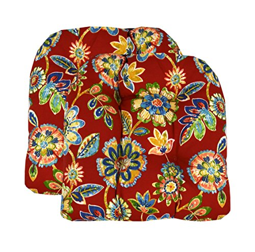 (RSH Décor Set of 2 Indoor Outdoor Wicker Chair Cushion U Shape (Daelyn Cherry Red Yellow Blue Green Floral))