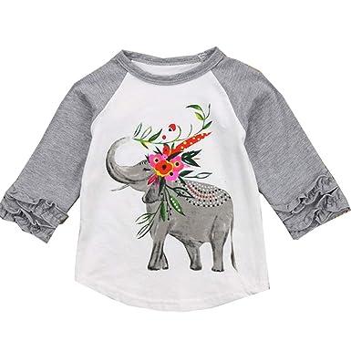 ecb9369e VIKITA 2017 Kid Girl Cotton Grey Elephant Long Sleeve T Shirt Clothes  GZSH003 4T