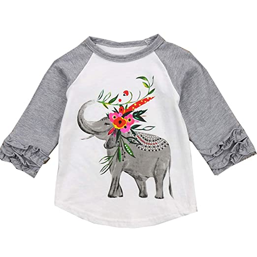 738aac75c78b VIKITA 2017 Kid Girl Cotton Grey Elephant Long Sleeve T Shirt Clothes  GZSH003 2T