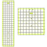 """Skyhawk Acrylic Quilting Rulers Combo Pack of 2 Quilters Rulers - Rectangular 24"""" x 6.5"""" and Square 9.5"""" x 9.5"""" Double-Colored Grid Lines"""