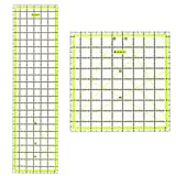 Skyhawk Acrylic Quilting Ruler Combo Pack of 2 Quilters Rulers - Rectangular 24'' x 6.5'' and Square 9.5'' x 9.5'' Double-Colored Grid Lines