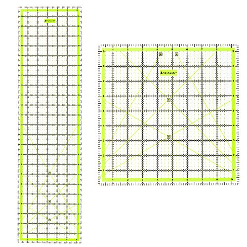 Skyhawk Acrylic Quilting Ruler Combo Pack of 2 Quilters Rulers - Rectangular 24'' x 6.5'' and Square 9.5'' x 9.5'' Double-Colored Grid Lines by Skyhawk