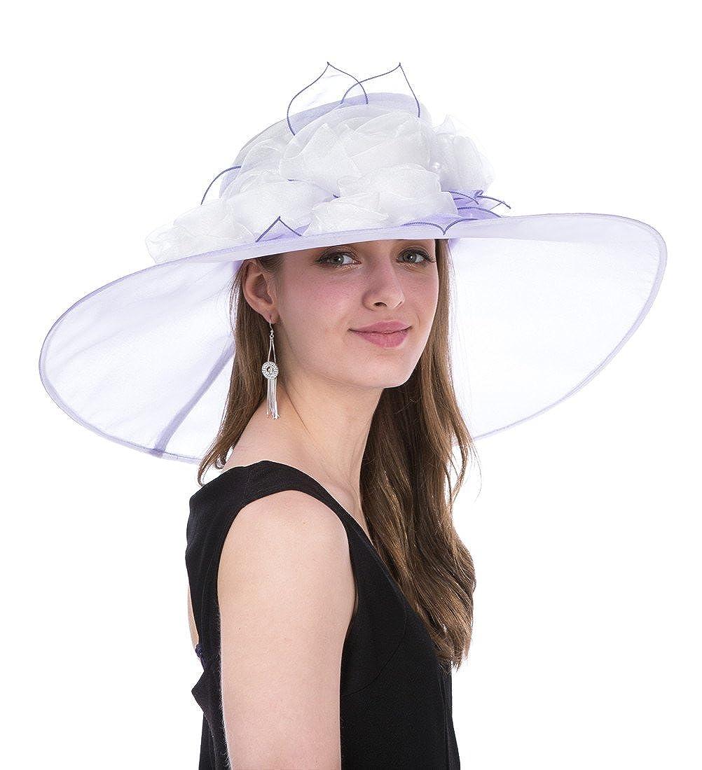 f05cbdf9df3 SAFERIN Women s Organza Church Kentucky Derby Fascinator Bridal Tea Party Wedding  Hat(SF3-Wide Brim Beige+Purple) at Amazon Women s Clothing store