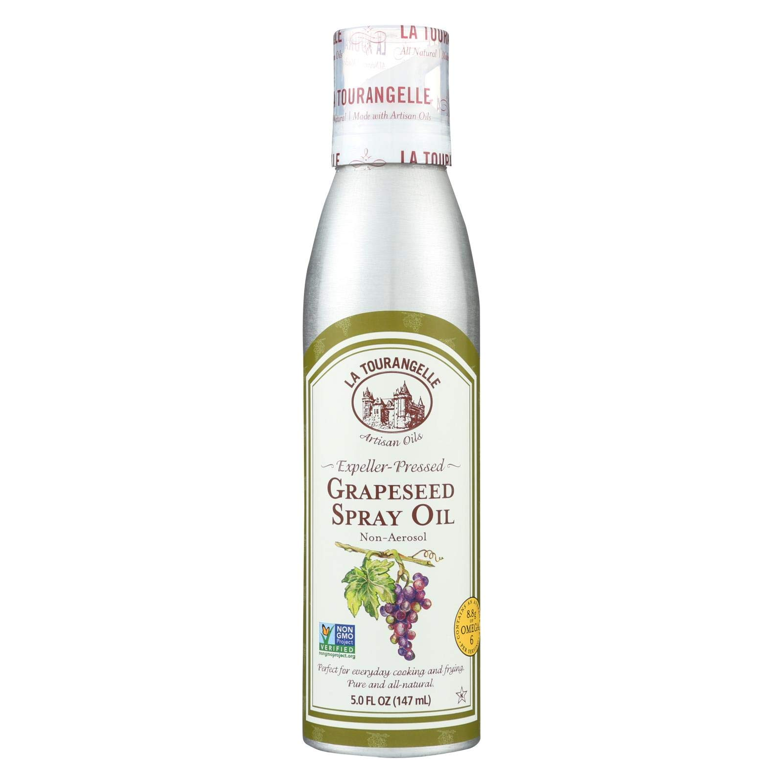 La Tourangelle Expeller Pressed Grapeseed Spray Oil, 5 Fluid Ounce - 6 per case. by La Tourangelle