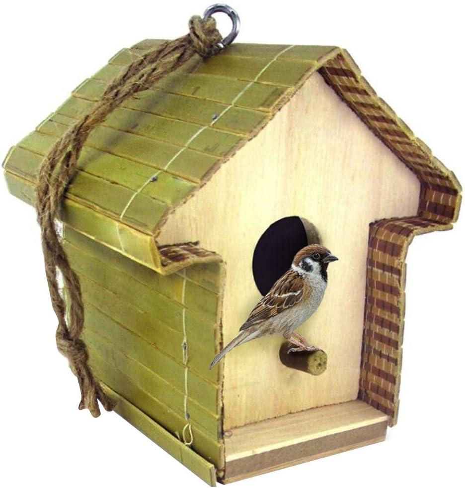 Casa Casita nido para pájaros de madera natural para colgar de jardín terraza exterior con posatoio dimensiones 13x 12x 12cm Mr Zoo