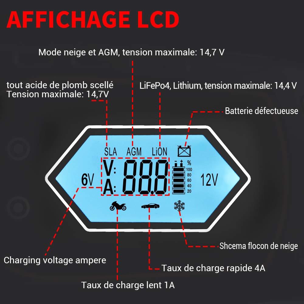MICTUNING Chargeur de Batterie pour Voiture 6V//1A,12V//4A,Mainteneur de Batterie Automatique Intelligent avec Multi-Protection pour Voiture,Motos,Bateaux