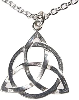 """product image for From War to Peace Delicate Celtic Trinity Knot Silver-Dipped Pendant Necklace on 18"""" Rolo Chain"""