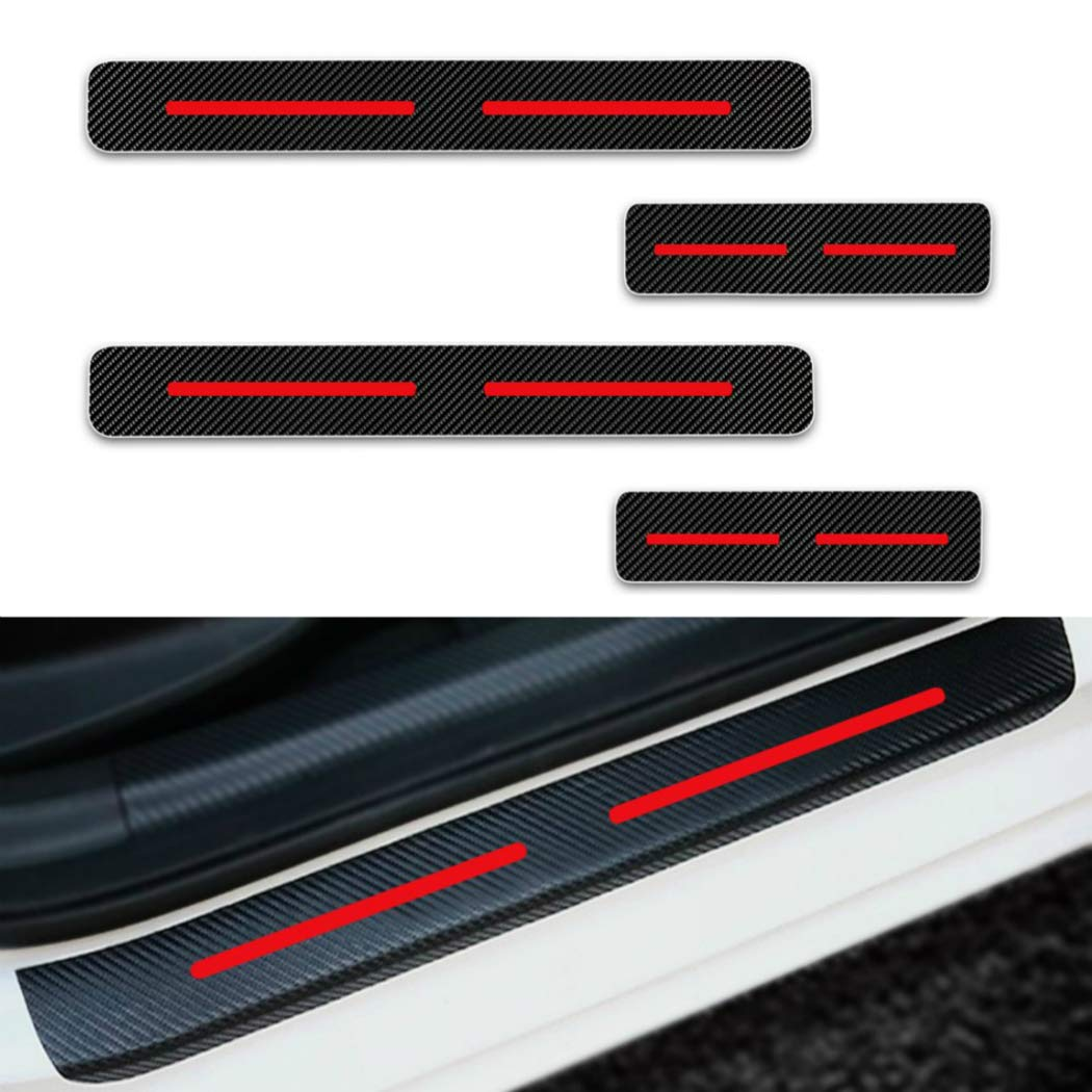 For FORD Raptor F150 F250 F350 F450 KA Escape Door Sill Protector Reflective 4D Carbon Fiber Sticker Door Entry Guard Door Sill Scuff Plate Stickers Auto Accessories 4Pcs Red