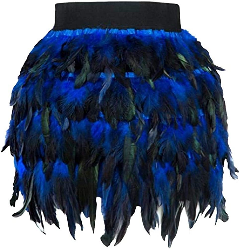 VJGOAL Mujeres Moda Casual Festival Trajes de la Etapa de Piel sintética de Plumas Cosplay Mini Tutu Falda